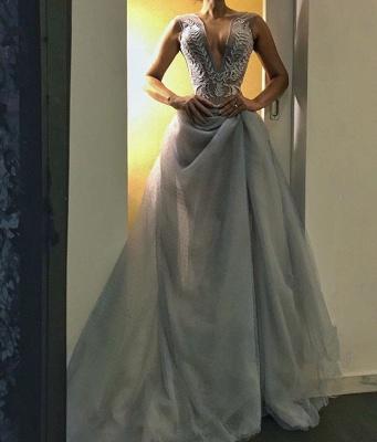 Gorgeous V-Neck Long Evening Dress UK   Sleeveless Prom Dress UK_1