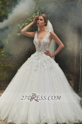 Gorgeous Lace Appliqeus Ball Gown Wedding Dress Sleeveless On Sale_1