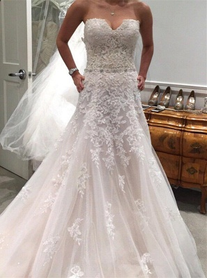 Newest Lace Appliques Sexy Mermaid Wedding Dress Tulle Long Train Sleeveless_1
