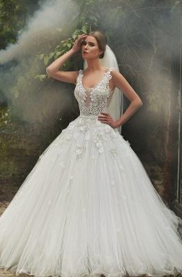 Gorgeous Lace Appliqeus Ball Gown Wedding Dress Sleeveless On Sale_3