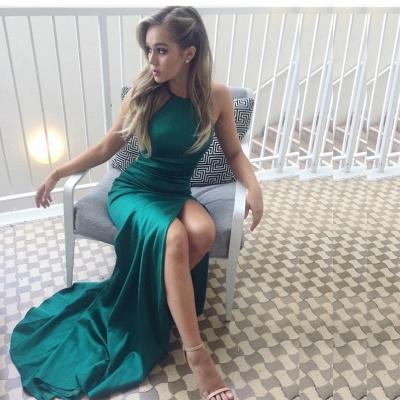 Sexy Halter Sleeveless Green Evening Dress UK Slit Formal Wear BA6752_3