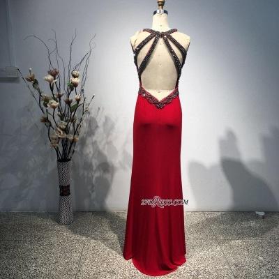 Bodycon Straps Sleeveless Long Beads Front-Split Elegant Prom Dress UK BA8093_2