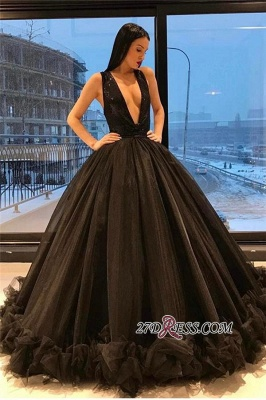 Ruffles Sequins Black Sparkling Puffy Deep-V-Neck Elegant Tulle Sleeveless Evening Dress UK_2