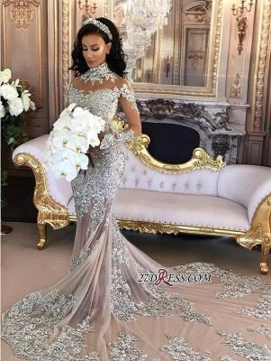 Silver Glamorous Lace Long-Sleeve Sexy Mermaid High-Neck Wedding Dresses UK BH-362_6