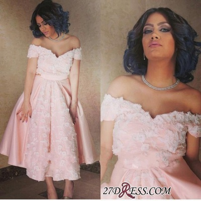 Appliques Sexy A-Line Off-the-Shoulder Pink Prom Dress UK_1