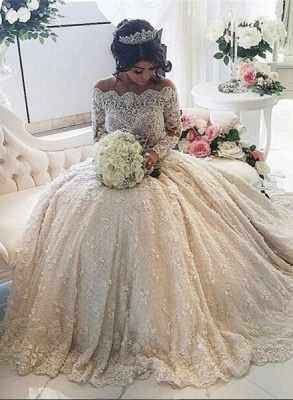 Pretty Lace Long Sleeve Princess Wedding Dresses UK Ball Gown With Appliques_1