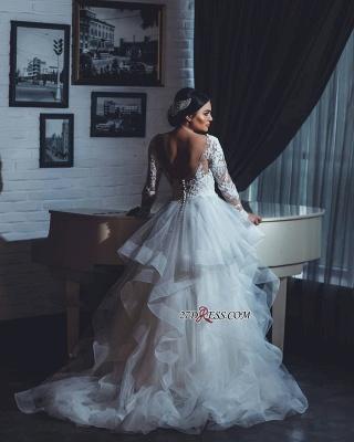 Open-Back Lace-Appliques White Long-Sleeves Wedding Dresses UK_2