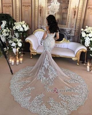Silver Glamorous Lace Long-Sleeve Sexy Mermaid High-Neck Wedding Dresses UK BH-362_5