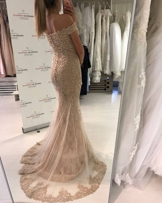 Gorgeous Off-the-Shoulder Evening Dress UK   Lace Mermaid Prom Dress UK_4