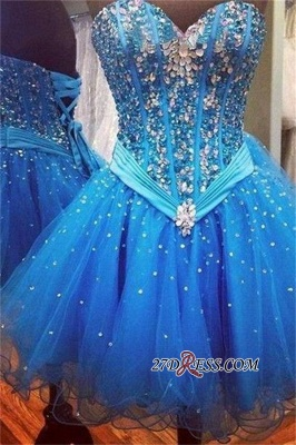 Rhinestones Sweetheart Lace-Up Sequins Organza Sparkly Sexy Blue Homecoming Dress UKes UK_2