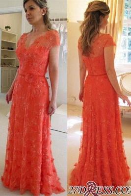 V-neck A-line Modern Short-Sleeve Flower Floor-Length Lace Evening Dress UK_2