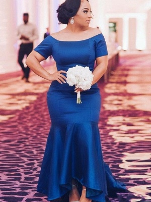 Chic Blue Plus Size Wedding Party Dresses | Cheap Mermaid Satin Bridesmaid Dresses UK_1