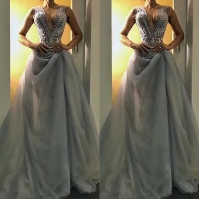 Gorgeous V-Neck Long Evening Dress UK   Sleeveless Prom Dress UK_3
