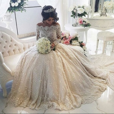 Pretty Lace Long Sleeve Princess Wedding Dresses UK Ball Gown With Appliques_3