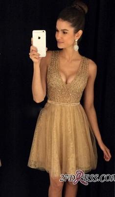 A-Line Short V-Neck Sleeveless Elegant Tulle Prom Dress UKes UK_3