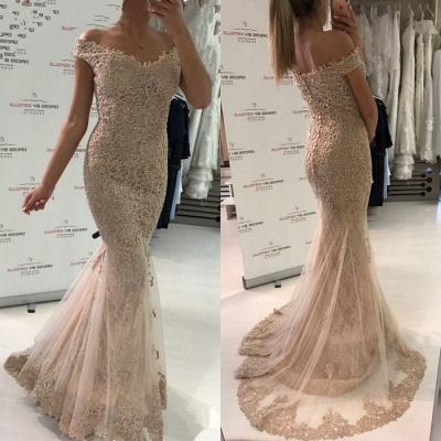 Gorgeous Off-the-Shoulder Evening Dress UK   Lace Mermaid Prom Dress UK_3