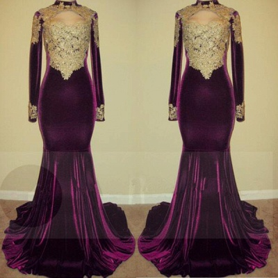 Lace long sleeve mermaid prom Dress UK, evening gowns online BA7801_3