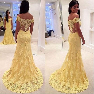 Modern Yellow Lace Appliques Evening Dress UK Mermaid Off-the-shoulder_4