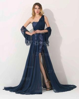 Luxury One Shoulder Lace Appliques Evening Dress UK Long Chiffon_1