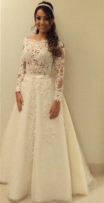 Elegant Lace Appliques A-line Wedding Dress Zipper Button Back_1