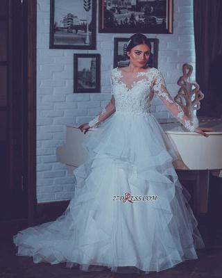 Open-Back Lace-Appliques White Long-Sleeves Wedding Dresses UK_3