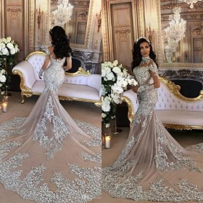 Silver Glamorous Lace Long-Sleeve Sexy Mermaid High-Neck Wedding Dresses UK BH-362_7