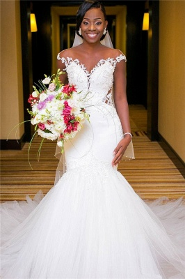 Sexy Mermaid Tulle Cheap Appliques Wedding Dresses UK | Cap Sleeves Open Back Bridal Gowns with Buttons_1