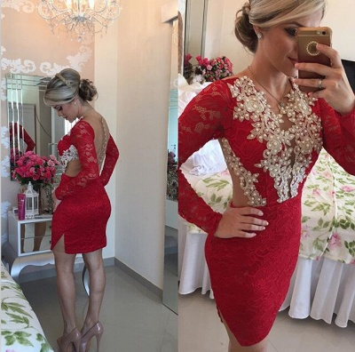 Elegant Long Sleeve Red Cocktail Dress UK Lace beadings Short Prom Gowns_2
