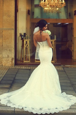 Sweetheart Sleeveless Sexy Mermaid Wedding Dress With Lace Appliques_4