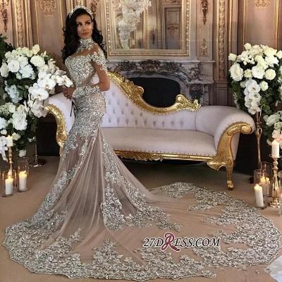 Silver Glamorous Lace Long-Sleeve Sexy Mermaid High-Neck Wedding Dresses UK BH-362_4