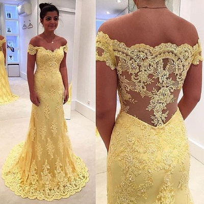 Modern Yellow Lace Appliques Evening Dress UK Mermaid Off-the-shoulder_3