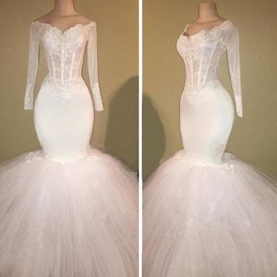 White Long-Sleeve Evening Dress UK   Lace Mermaid Prom Dress UK BA8431_3