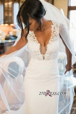Sexy Mermaid Lace White Straps Newest Sweep-Train Sleeveless Wedding Dress_4