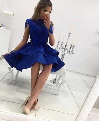Sexy Royal Blue Long Sleeve Homecoming Dress UK Lace Prom Gowns_4