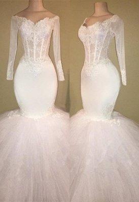 White Long-Sleeve Evening Dress UK   Lace Mermaid Prom Dress UK BA8431_1