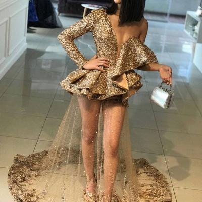 Elegant Gold One Shoulder Ruffles Prom Dress UK   Delicate Evening Gown BA9830_3
