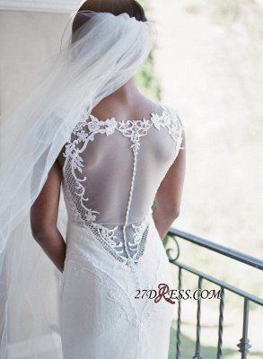 Sexy Mermaid Lace White Straps Newest Sweep-Train Sleeveless Wedding Dress_5