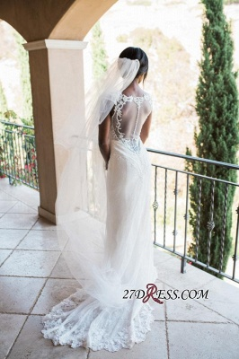 Sexy Mermaid Lace White Straps Newest Sweep-Train Sleeveless Wedding Dress_2