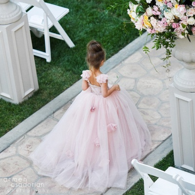 Delicate Pink Tulle Flowers Girl Pageant Dress Sweep Train_4