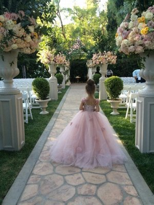 Delicate Pink Tulle Flowers Girl Pageant Dress Sweep Train_3