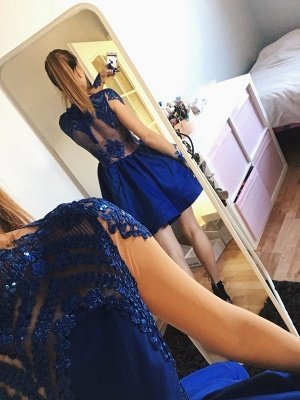 Sexy Royal Blue Long Sleeve Homecoming Dress UK Lace Prom Gowns_3