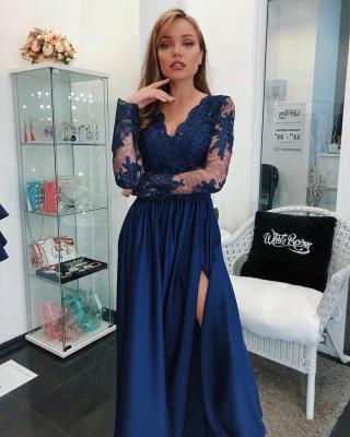 Modern Long Sleeve Lace Appliques Evening Dress UK | Front Split Evening Dress UK_3
