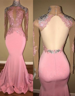 Luxury High-Neck Backless Pink Prom Dress UK Mermaid With Lace Appliques BA7926_1