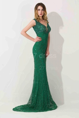 Luxury Green Long Evening Dress UK Mermaid On Sale_2