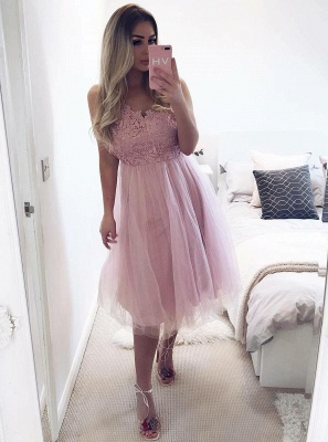 Sexy Sleeveless Homecoming Dress UKes UK | A-Line Short Tulle Prom Dress UKes UK_1