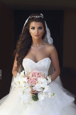 Elegant Sweetheart Tulle Cheap Appliques Wedding Dresses UK Ruffles Bridal ball Gowns with Sash_3