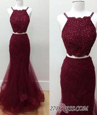 Two-piece Sleeveless Mermaid Spaghetti-strap Beads Elegant Prom Dress UK_1