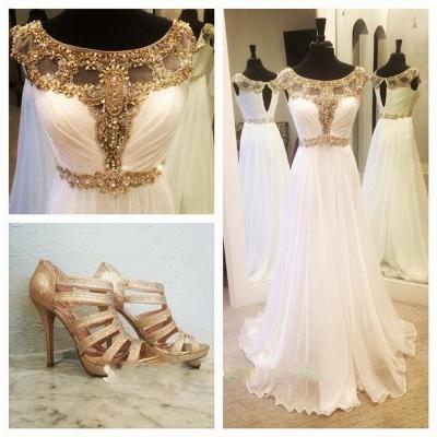 Gorgeous A-line Jewel Chiffon Prom Dress UK Floor-length Cap Sleeve Beadings Evening Gown_1