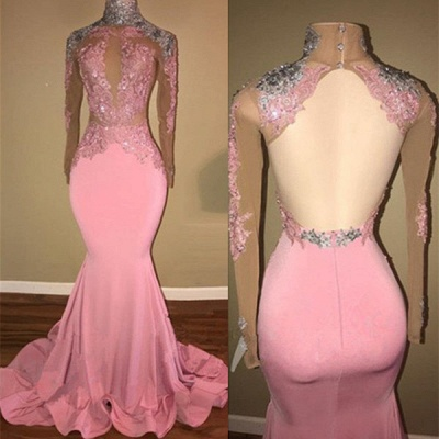 Luxury High-Neck Backless Pink Prom Dress UK Mermaid With Lace Appliques BA7926_3