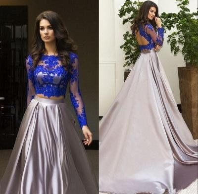 Luxury Two Piece Formal Dress UK Long Sleeve Lace Evening Dress UK_4